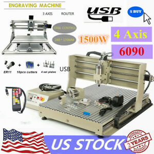 Usb 6090 Cnc Router 4axis Engraver Milling Cut Machine1500w mini 2417 controller