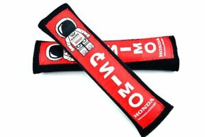 2pcs Jdm Asimo Black red Soft Cotton Embroidery Seat Belt Cover Shoulder Pads