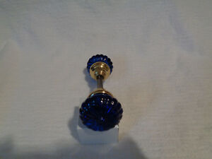 Antique Glass Doorknobs Colored And Dyed Rare Daisy Cobalt Blue Brass Hubs