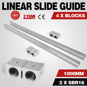 Sbr16 1000mm 2 X Linear Rail 4 X Bearing Blocks Slide Guide 4 Blocks Sbr 16uu