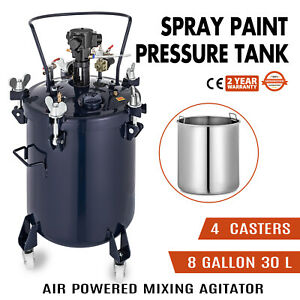 8 Gallon 30l Spray Paint Pressure Pot Tank 1 4 Air Outlet Painting Roll Caster