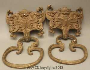 14 Chinese Copper Fu Lion Foo Dog Head Statue Ji Xiang Fu Gui Door Knocker Pair