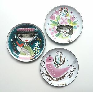 Set 3 Thelma Frazier Winter Modernist Enamel Christmas Dishes Trays Listed