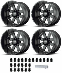 Set Of 4 Moto Metal 18x10 Gloss Black W Milled Accents 6x5 5 Mo962 Rims W Lugs