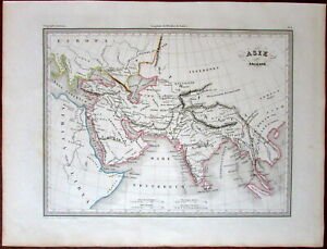 Ancient Asia Arabia India Southeast Asia Nile Source C 1840 Antique Map Bellier
