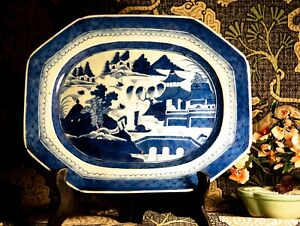 Large Antique Chinese Export Canton Blue White Tray 12 X 15 Inches