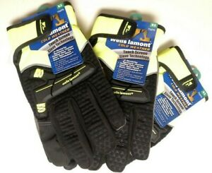 3 Pairs Xl Wells Lamont insulated Synthetic Leather 7763 Gloves Nwt Neon