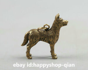 43mm Small Curio Chinese Bronze Fengshui Zodiac Animal Dog Wealth Statue Pendant