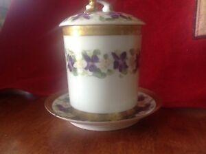 T V LIMOGE CONDENSED MILK CONTAINER Flowers HAND PAINTED