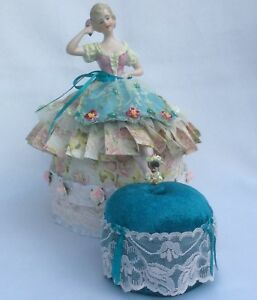 Vtg German Porcelain Half Doll With Legs Traditional German Dress Pincushion