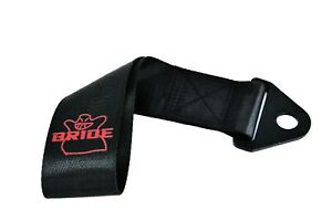 Jdm High Strength Bride Tow Strap For Front Rear Bumper Towing Hook Black