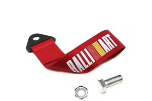 Universal Jdm Red Ralliart Racing Drift Rally Car Towing Strap Belt Hook