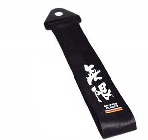 Jdm High Strength Mugen Power Tow Strap For Front Rear Bumper Towing Hook black