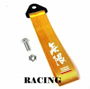 Jdm High Strength Mugen Power Tow Strap For Front Rear Bumper Towing Hook Gold