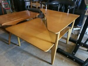 Mid Century Modern Heywood Wakefield 2 Tier Corner End Side Table Vintage Wheat