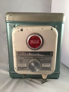 Vintage Sears Electric Fence Charger Metal Untested Worked Whn Stored 6v Battery