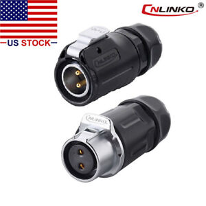 Cnlinko 2 Pin Power Connector Cable To Cable plug W Receptacles Ip67 Waterproof