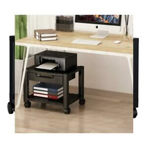 Printer Stand Under Desk With Cable Management Storage Drawers For