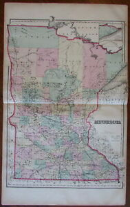 Minnesota State By Itself 1876 Ow Gray Large Oversize Detailed Antique Map