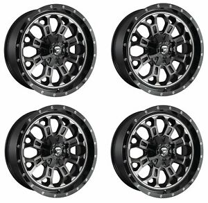 Set 4 22 Fuel Crush D561 Black Machined Wheels 22x12 8x6 5 44mm Lifted Truck