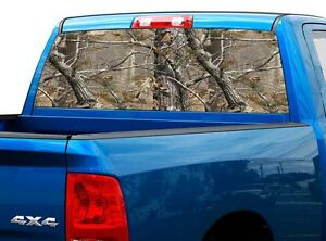 P527 Camo Tree Real Rear Window Tint Graphic Decal Wrap Back Truck Tailgate
