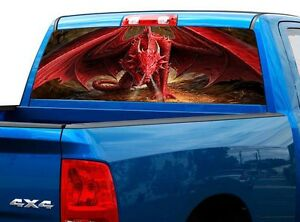 P498 Dragon Rear Window Tint Graphic Decal Wrap Back Truck Tailgate