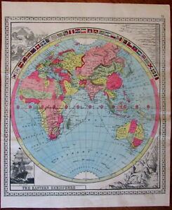 Eastern Hemisphere World Decorative Flags Mountains Rivers Ship 1885 Antique Map
