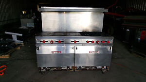 72 Vulcan Commercial Kitchen Gas Range Flat Top 4 Stove Burners Double Ovens