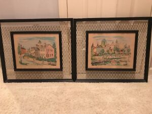 Vtg Mid Century Wall Art Pairw Metal Grate Frames Signed Cole 1950s City Scene