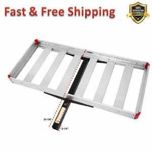 Cargo Carrier 48 X 21 In Hitch Mount Compact Aluminum 500 Lb Load Capacity New