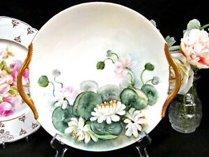 T V Limoges France Stunning Painted Waterlily Pattern Artist Signed Charger
