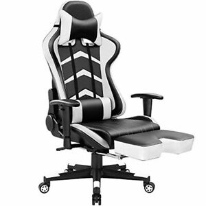High Back Gaming Chair Swivel Computer Executive Leather Desk Bucket Seat White