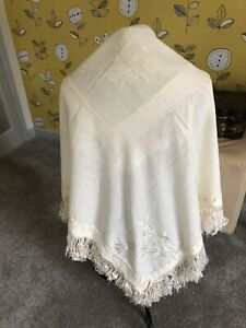 1930s Embroidered Shawl Fine Wool Cream Fringe Silk Thread Throw Bed Cover Bride