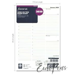 Filofax Deskfax Size Diary Week On Two Pages Insert 2020 20 68612