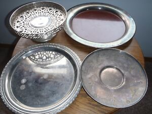 Rare Vintage Silver Plate Cake Stand Serving Trays W M Rogers And Others Mixed