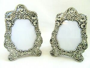 2 Vintage 4 75 Ornate Floral Gorham Silver Picture Frame Repousse Easel Pair