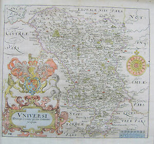 Derbyshire Antique Map By Saxton Hole 1637