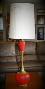 Vintage Eames Era Tall 54 Modernism Electric Table Lamp Mid Century Red Gold