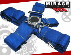 Universal Pair 3 Shoulder Strap 5 Point Camlock Harness Blue Racing Seat Belts
