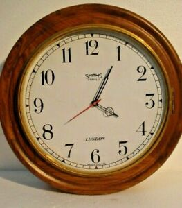 Large Vintage Style Smiths Londong Wall Clock Wooden Brass 2806
