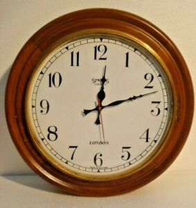 Large Vintage Style Smiths Londong Wall Clock Wooden Brass 2807