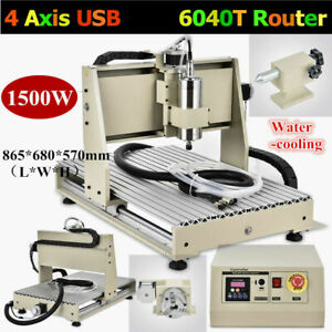 4axis 1500w Usb 6040 Cnc Router Engraver Engraving Milling Drilling Cut Machine
