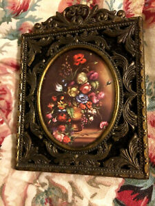 Ornate Vintage Floral Picture In Frame From Italy