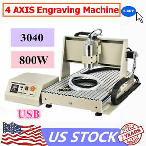Usb 4axis 3040 Cnc Router Eengraver 3d Engraving Drill mill Cutting Machine 800w