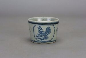 Old Chinese Beautiful Ming Dyn Wanli Blue And White Porcelain Tea Cup A03