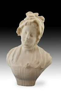 Bust Of A Lady Marble Signed 19th Century