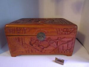 Vintage Antique Hand Carved Wood Pictorial Scenes Chinese Box Chest Brass Hinges