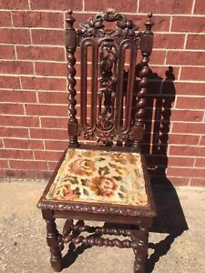 Antique Victorian Era Gothic Carved Barley Twist Chair