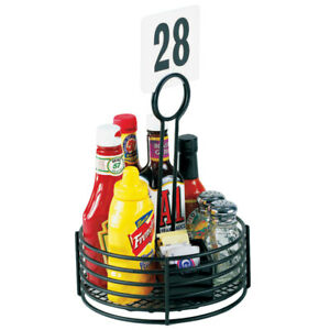 6 Pack Condiment Caddy Holder Black Powder coated Metal 8 1 2 dia X 12 h