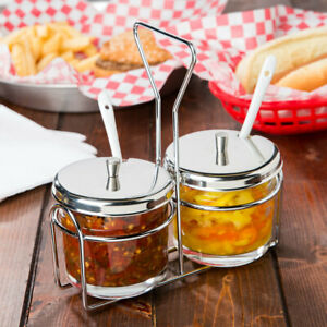6 Pack 2 Compartment Wire Condiment Caddy With 7 Oz Glass Jars